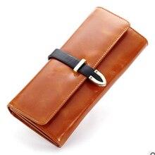 Luxury Brand Women's Purse Rfid Genuine Oil Wax Leather Card Wallet Woman