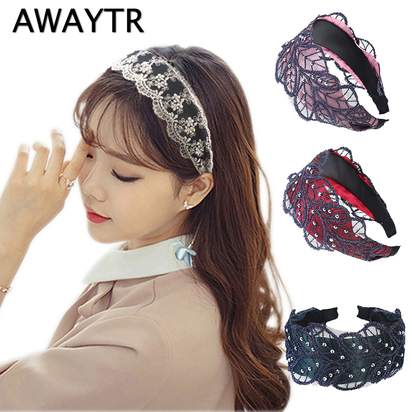 AWAYTR 2019 Wide Headband for Girls Hair Accessories Crystal Lace Hairband Leaf   Headwear   Hair Hoops Wedding Tiaras