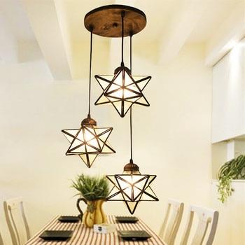 Средиземноморский Тиффани-барокко звезда цветное Стекло подвесной светильник E27 110-240 V подвесные светильники для дома гостиная столовая
