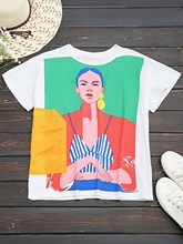 2018 Women Summer Casual T Shirts Figure Graphic Print Loose Girls Basic Shirts O Neck Short Sleeves Tee Tops цена