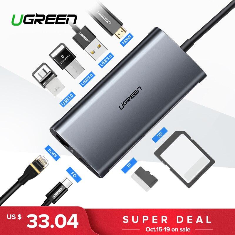 Ugreen USB HUB USB C zu HDMI RJ45 Thunderbolt 3 Adapter für MacBook Samsung Galaxy S9/Hinweis 9 Huawei p20 Pro Typ C USB 3.0 HUB