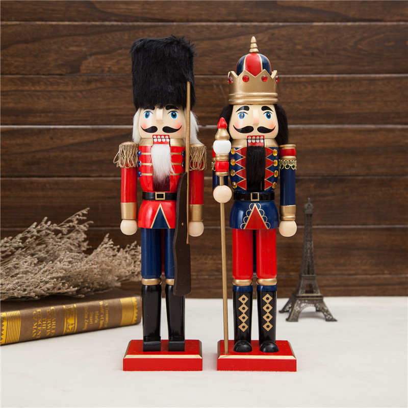 2pcs 38cm beautiful Original wood Nutcrackers Soilders Vintage home decoration accessories Christmas gift nutcrackers crafts