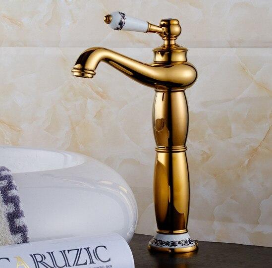 Livraison gratuite col haut doré salle de bain mitigeur avec robinet de lavabo en laiton massif de robinet chaud froid doré
