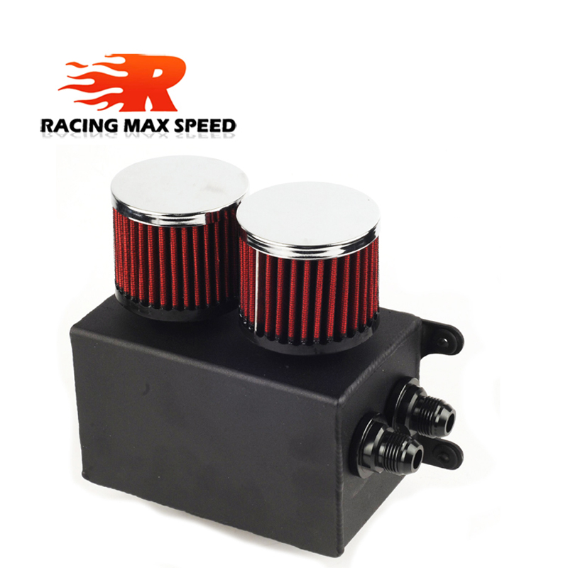 Image 2 - Universal 1.1L 2 ports AN10 Accessories Oil Fuel Oil catch Tank with 2 air filters and Oil Storage Tank can hold fan Kit-in Oil Filter Sets from Automobiles & Motorcycles