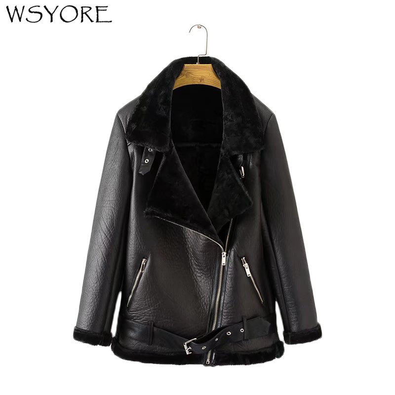WSYORE Parka Women Thick Jacket 2019 New Autumn And Winter PU Faux Leather Velvet Jackets Casual Outwear Female Warm Coat NS603