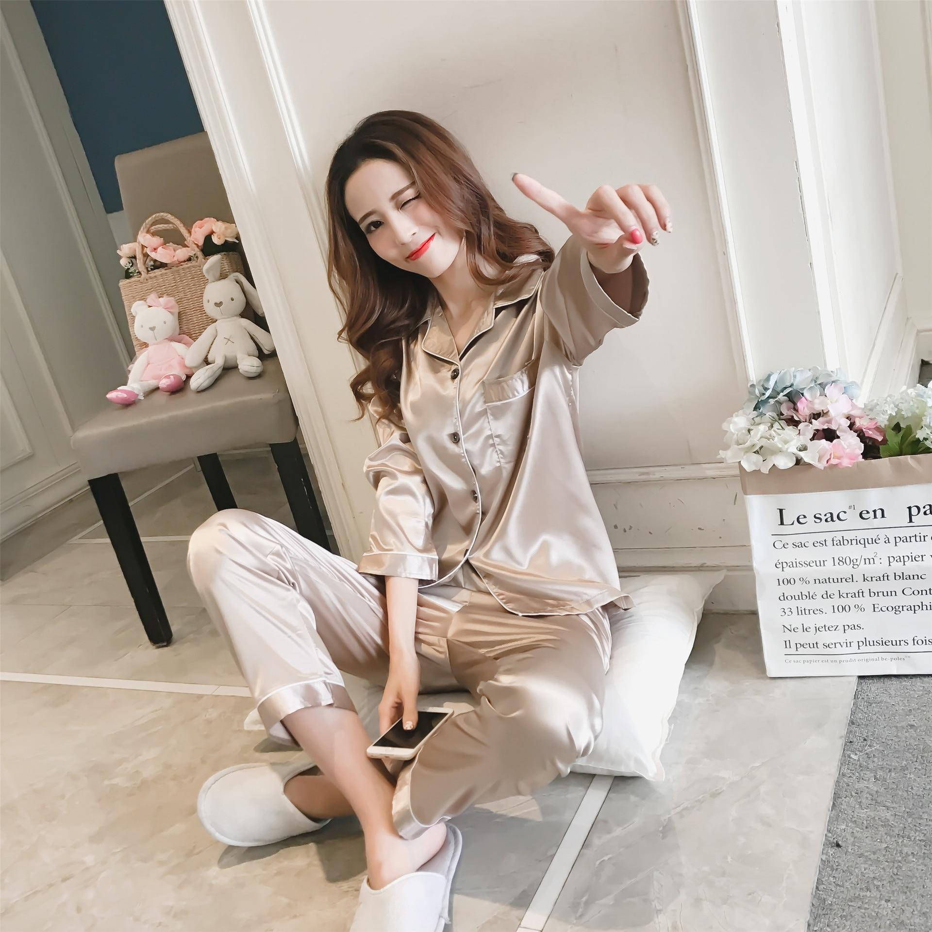 Spring Women Silk Turn-Down Collar   Pajamas     Sets   With Pants Satin Soft Elegant Pijama Homewear Female Sexy Brief Pyjama Nightwear