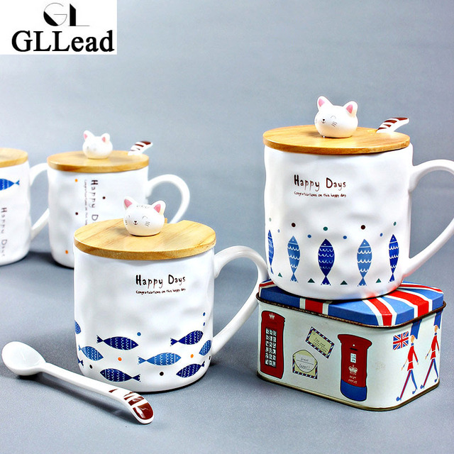 Gllead Anese Style Creative Ceramic Tea Mug Cute Kitty And Fish Cartoon Coffee Mugs Porcelain Milk
