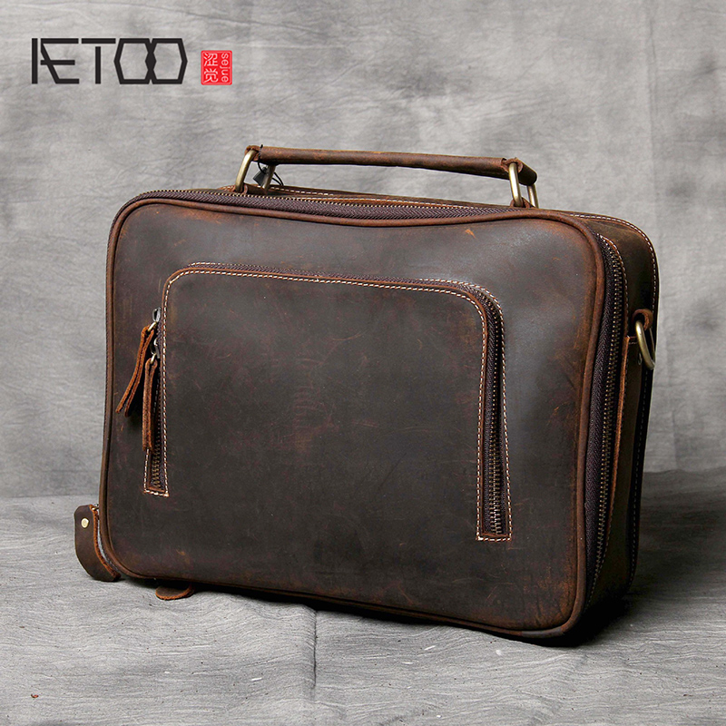 AETOO Simple head-layer cowhide briefcase male and female casual leather shoulder bagAETOO Simple head-layer cowhide briefcase male and female casual leather shoulder bag