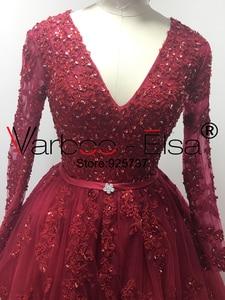 Image 2 - VARBOO_ELSA Đầm Vestido De Noiva 2020 Chiếu Trúc Hạt Cổ V Áo Váy Ren Đỏ Nhà Nguyện Đoàn Tàu Bầu Nửa Tay Trung Quốc Cô Dâu bộ Đồ Bầu