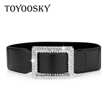 2019 Luxury Black Woman Belt with Rhinestones Square Buckle PU Leather Waist Elastic for Women Designer Brand TOYOOSKY