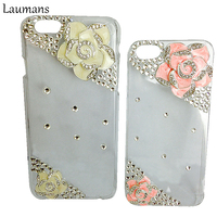 Rhinestonel Case Cover For Apple Iphone 6 6s Luxury Diamond Camellia Hard Back Cover Mobile Phone
