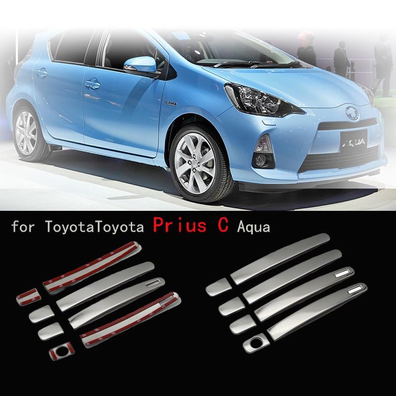 Car Door Handle Cover Stainless Steel Chrome Decorative Sticker For Toyota Prius C Aqua
