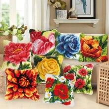 """Красивая Цветочная вышивка, ручная трикотажная Подушка, материалы для растений, серия """"сделай сам"""", ручная вышивка, грубая шерсть, ковер"""