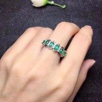 Uloveido Green Emerald Ring, Flower Rings, Silver 925 Ring, 3*4mm*6 pcs Certified Gemstone Wedding Fine Jewelry for Women FJ216
