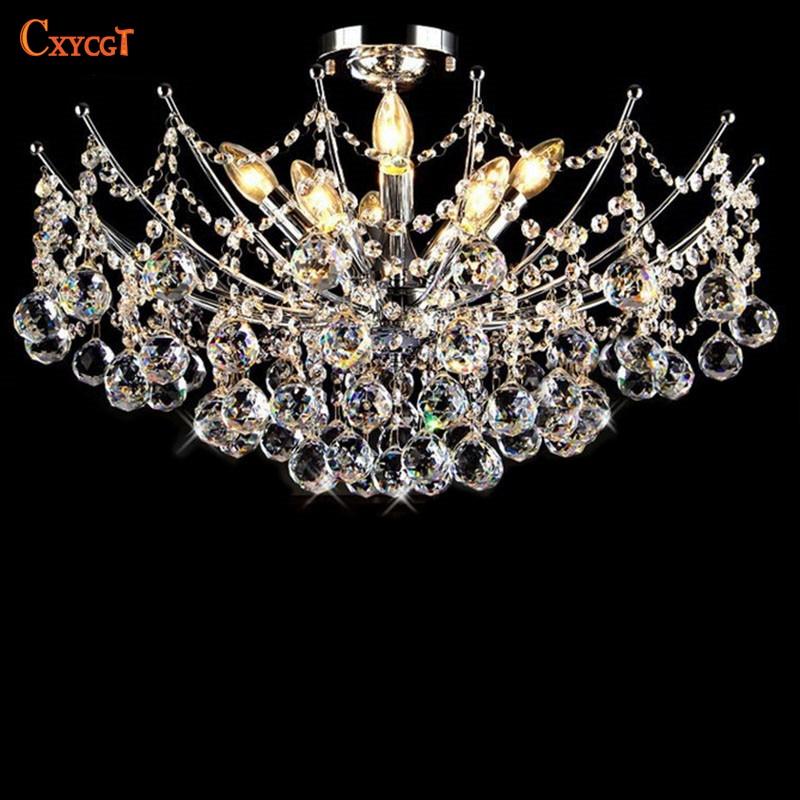 Luxury Lustre Vanity Modern Crystal Chandelier Lighting Fixture Chrome Finish LED Ceiling Lamp for Dining Room