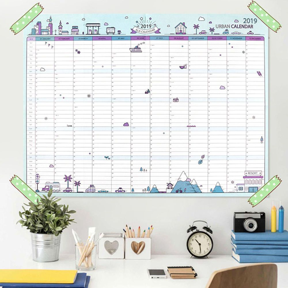 ><font><b>2019</b></font> 365days Paper Wall Calendar Office School Daily Planner Notes, Very Large Study New Year Plan Schedule 43*58cm