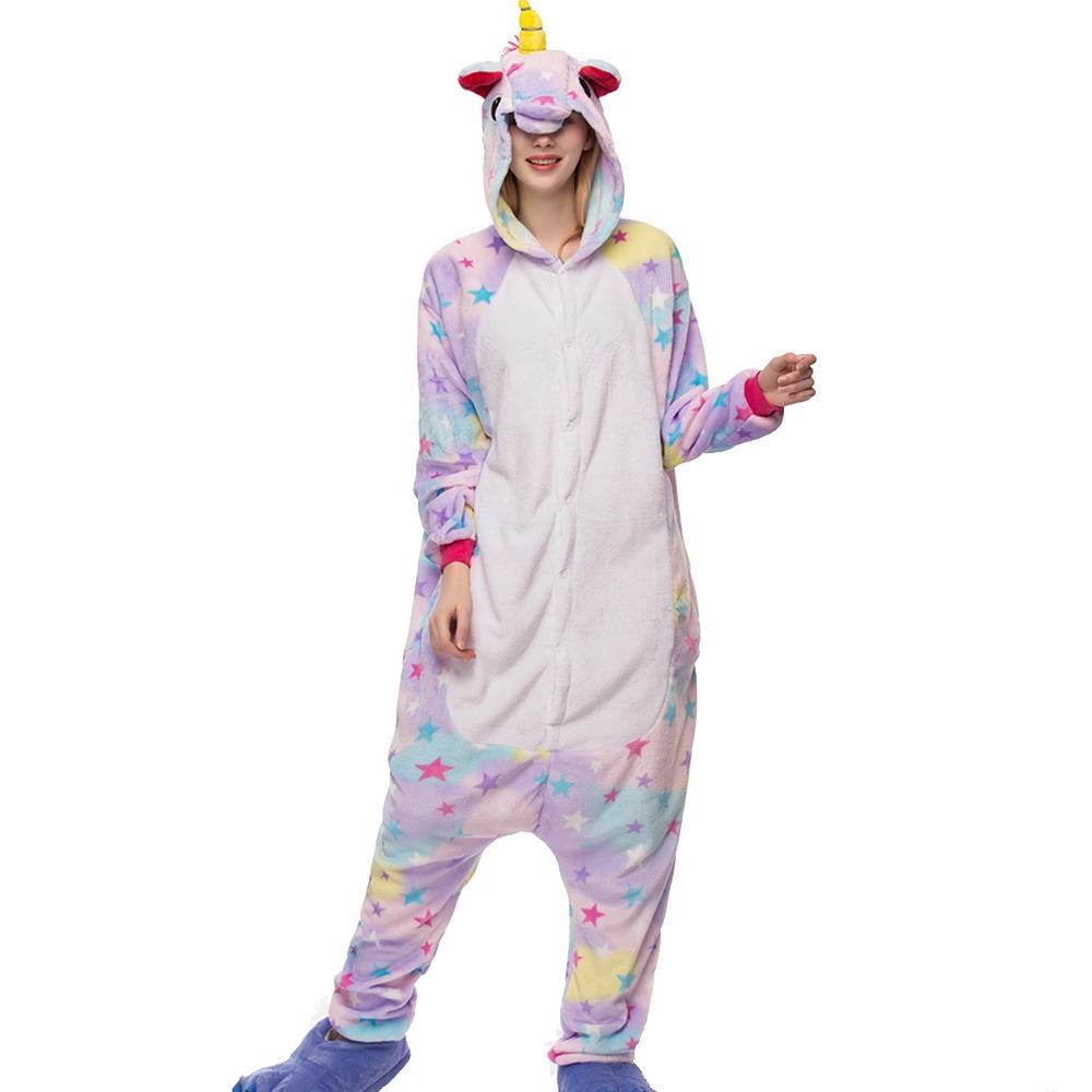 Adult Kigurumi Unicorn Animal Pajama Sets Pyjamas Women Pijamas Unicornio Sleepwear Night Suit One Piece Winter Warm Wear