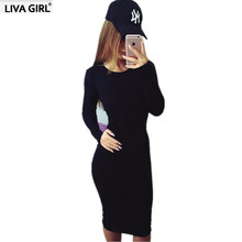 2017 Autumn Sexy Pack hip Fashion Slim Pencil dress Full Sleeve O-Neck Sheath Casual Women Dresses Cheap clothes china Vestido