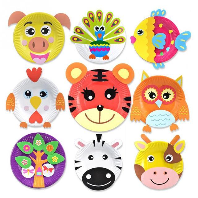 Children Paper Plate Diy Crafts Toys Kindergarden Handmade Sticker