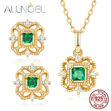 ALLNOEL Natural Green Zircon Gemstone Fine Jewelry Sets For Women Necklace Earrings 100% Sterling Silver 925 Gold Wedding