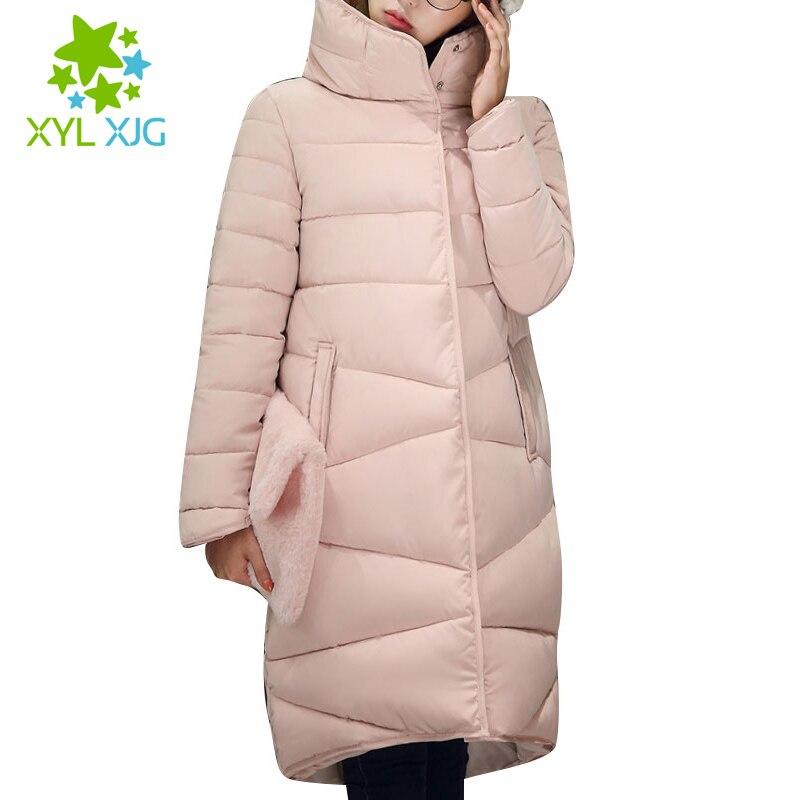 ФОТО Winter Jacket Women 2016 New Long Thickening Turtleneck Warm Jackets Cotton Padded Zipper Plus Size Coats manteau femme ja717