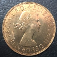 "1964 United Kingdom 1 Penny - Elizabeth II 1st portrait; without ""BRITT:OMN"" Copy Coin(China)"