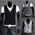 Hot nova seção fina 2016 coreano de Slim falsa dois projeto homens clipe pônei terno mens colete Veste vestido