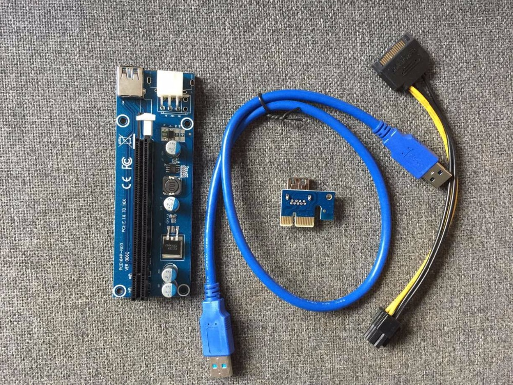2017 60cm 006C PCI-E PCIE Express Riser Card 1x to 16x SATA 6pin Power Supply with USB 3.0 Data Cable For BTC Miner Machine