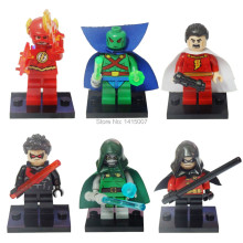Decool Super Heroes 6pcs/lot The Flash/Martian Manhunter/Robin/Shazam/Night Wing Building Blocks Sets Minifigure Bricks Toys