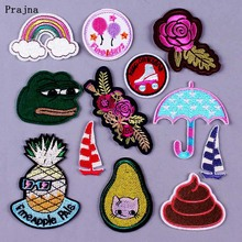 Prajna DIY Cartoon Patches Embroidered Iron on Patch for Clothing Rose Animal Gremlins Applique Stripe Rainbow Badge F