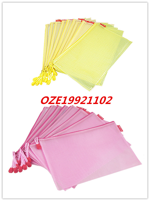 Yellow Pink Soft Plastic B5 Paper Size Document Flies Holder Zipper Closure Bags