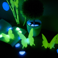 A Hot Sale Glow Butterfly Wall Stickers 12pcs Decal Stars Luminous Fluorescent Baby Kids Bedroom