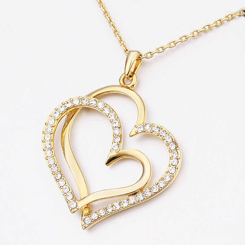 Fashion Vintage Double Heart crystal Women necklace Geometric pendant Silver gold color Chain Wedding Jewelry
