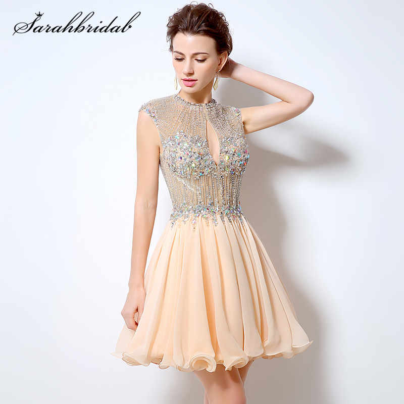 Sexy Charming Short Prom Dress Beading A-Line Chiffon O-Neck Backless Party  Cocktail 5bb1b14e0472