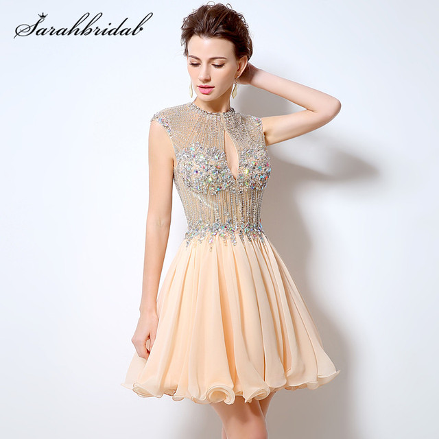 Sexy Charming Kurze Prom Kleid Perlen A Line Chiffon O ansatz ...