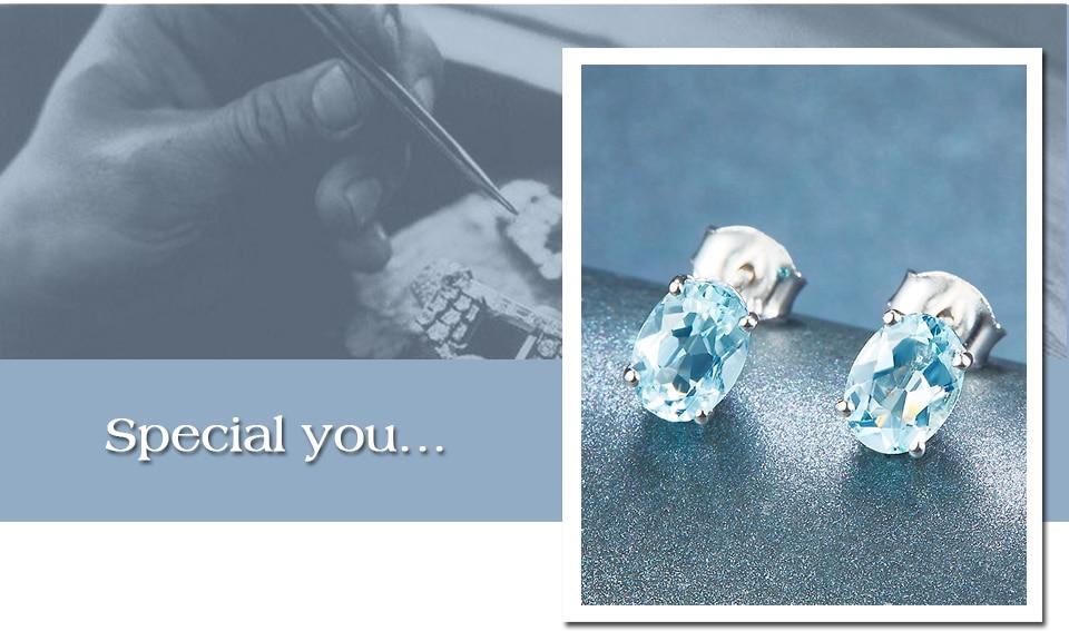 HUTANG Аквамарин серьги гвоздики натуральный камень серебро 925 пробы тонкой моды ювелирные изделия для дня рождения Best подарок