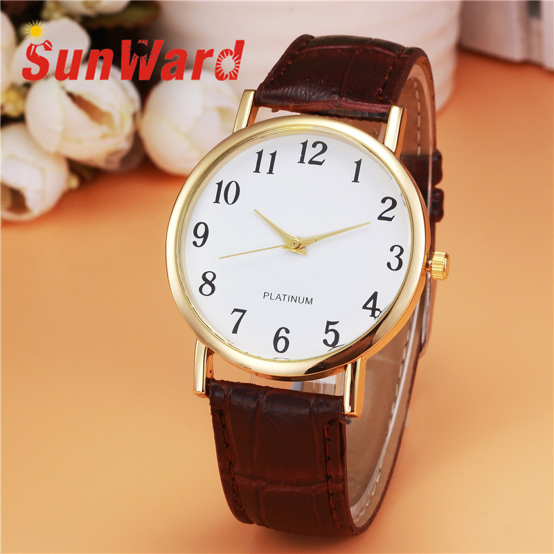 Sunward Relogio Feminino Retro Design Leather Band Analog Alloy Quartz Wrist Womens Watches Fashionable Horloge 17May3 relogio feminino fashion women watches quartz retro rainbow design leather band analog alloy quartz wrist watch montre femme