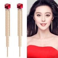 New Fashion Long Chain Tassel Red Crystal Wedding Bridal Earring Korean Women Accessories Brincos Boucle D