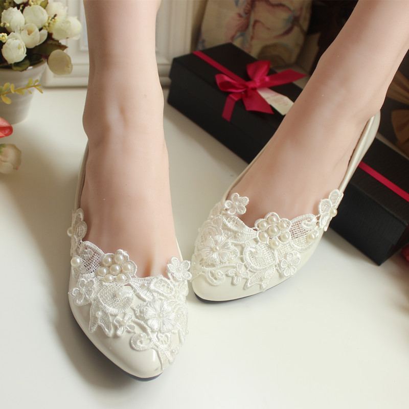 Flower Pearl Wedding Shoes Red and White Flat Handmade Wedding Shoes ...