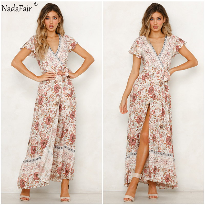 Nadafair Vintage Floral Maxi Dresses Elegant Beach Sash Sexy V Neck Split Print Tunic Long Summer Boho Dress Women Vestidos 3