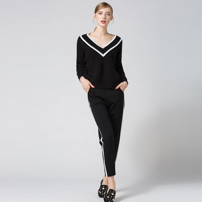Euro Chandail 2018 Femmes Black Mode Jersey De V Pull Épais Blanc Rayures Lambrissée Style Noir À Nouveau Ligne Manches Longues Col H4WxnqEwn5