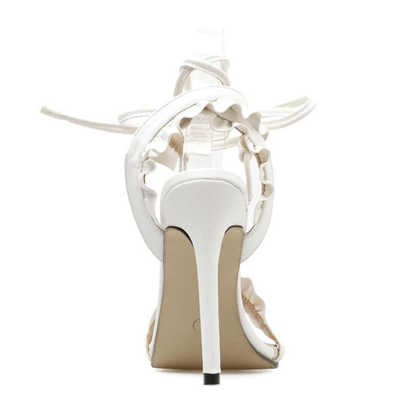 Plus Size 43 Sexy Hoge Hakken Nieuwe Vrouwen Schoenen Vrouwen Pompen Zomer Vrouwen Sandalen Lace Up Vrouwen Hakken Stiletto Dames schoenen Wit