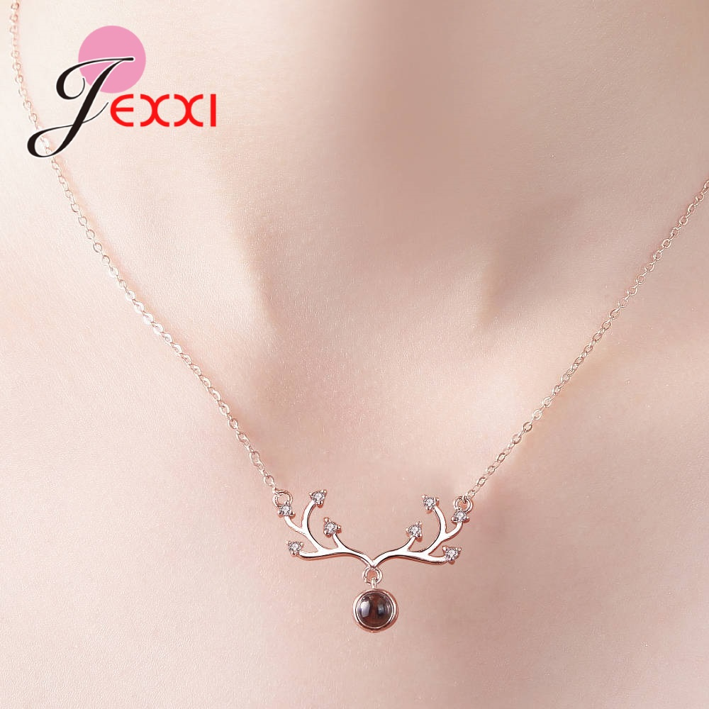 Christmas Jewelry 925 Sterling Silver Roses Deer Pendant Necklace GIFT 18 Inches
