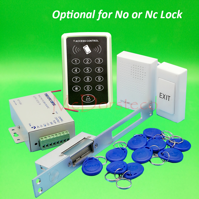 125khz Rfid Card Door Access Control kit Full Door Access Kit Yli YS130 Long type No Nc electric strike lock + Power Supply diysecur magnetic lock door lock 125khz rfid password keypad access control system security kit for home office