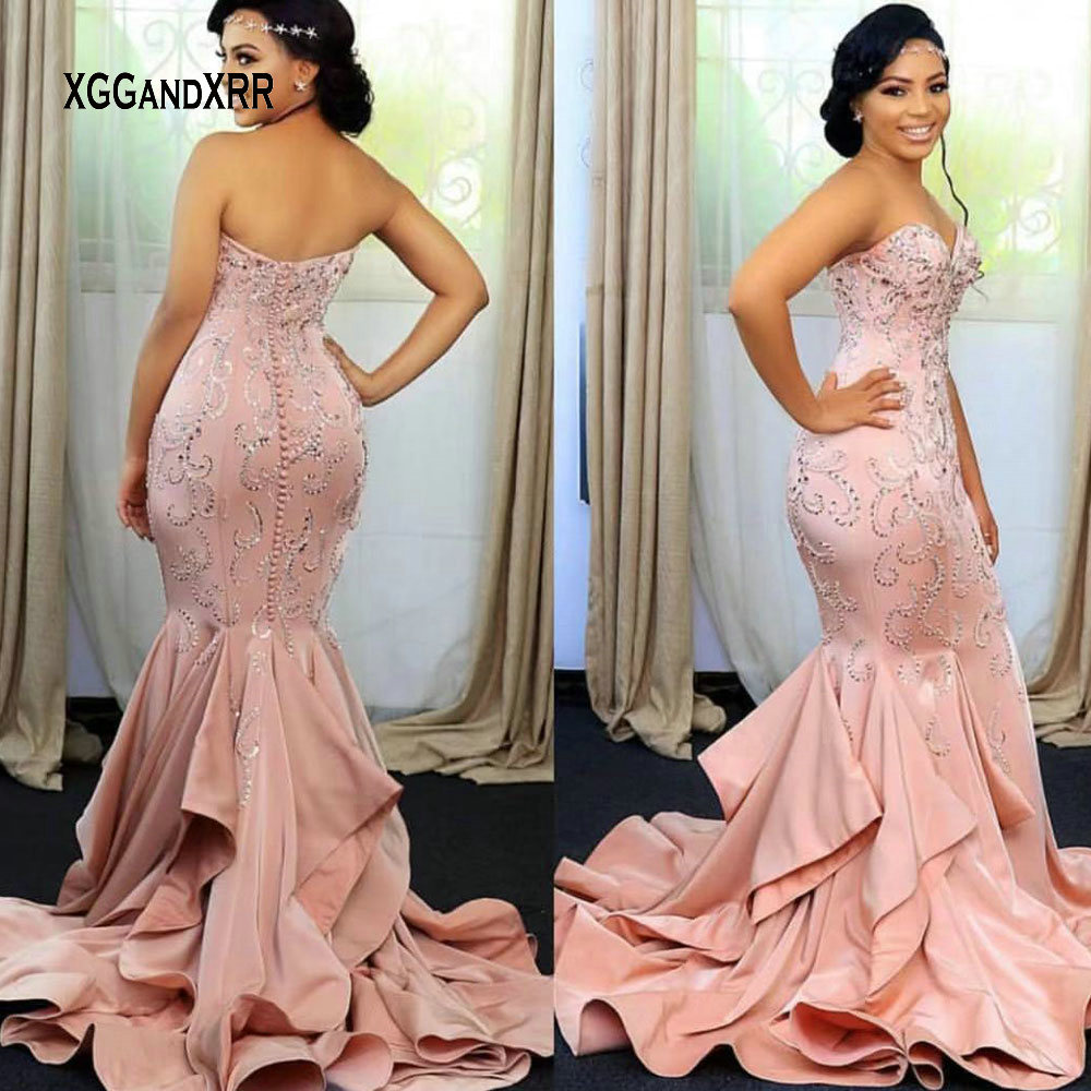 Amazing Sweetheart Mermaid Prom Dress 2019 Luxury Heavy Beading Long Elegant Evening Dress Party Gown Plus Size Woman Dress