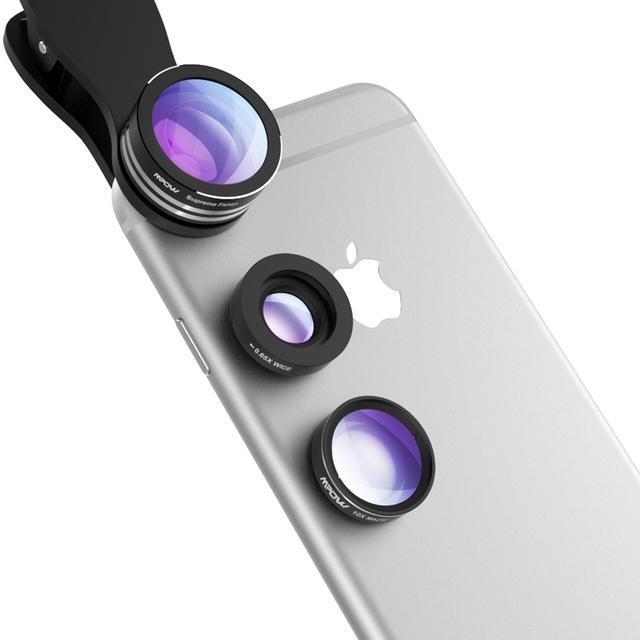 Mpow 3 en 1 Clip-On Lente de La Cámara Profesional Kit de 180 Grados de ojo de Pez lente + 0.65X Granangular + 10X Lente Macro para Iphone Samsung