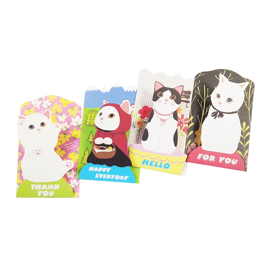 24 Pcs/lot Lovely Cat business cards Postcard with envelopes Cute Cat Greeting Card Christmas Card Birthday Gift Cards