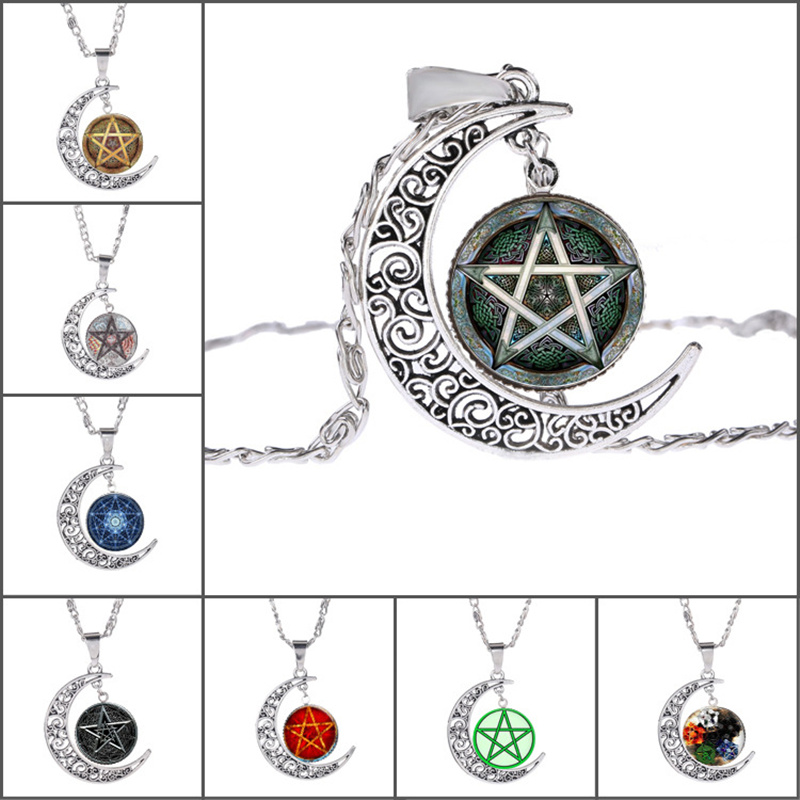Necklace for Men Colorful Flames Wiccan Glass Pendant Necklace Charms Personality Pentagram Jewelry Occult Necklaces Pendants