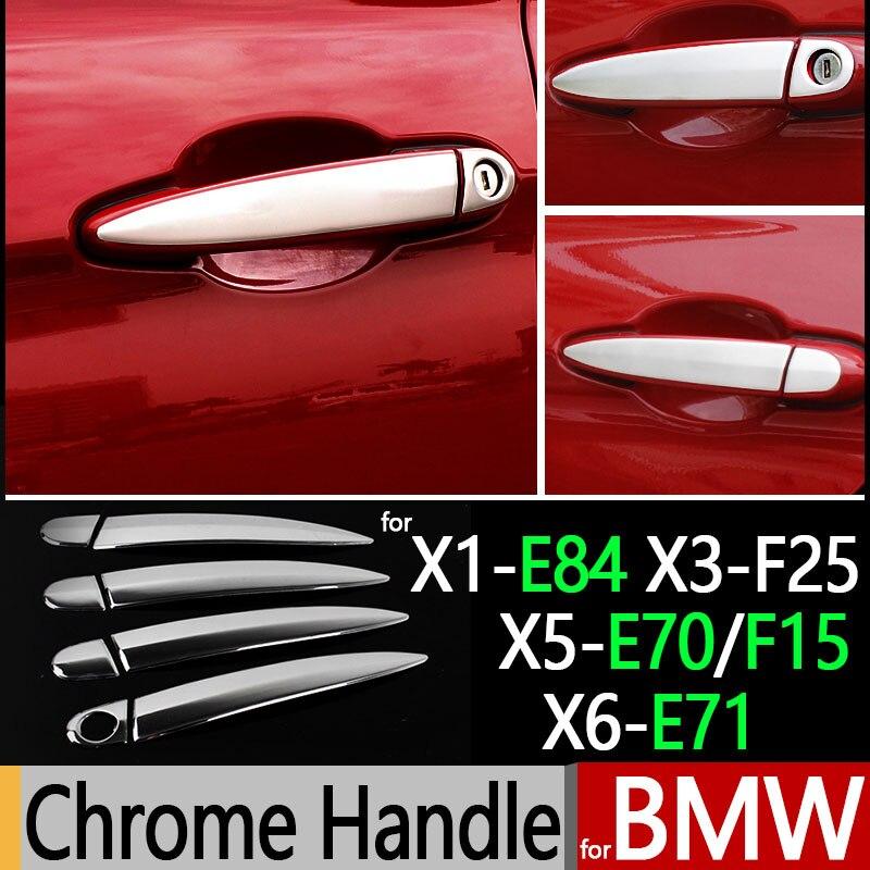 Prix pour Pour BMW X1 E84 X3 F25 X5 E70 X5 F15 X6 E71 accessoires Chrome Porte Poignée En Acier Inoxydable Couvre 2011 2012 2013 2014 De Voiture style