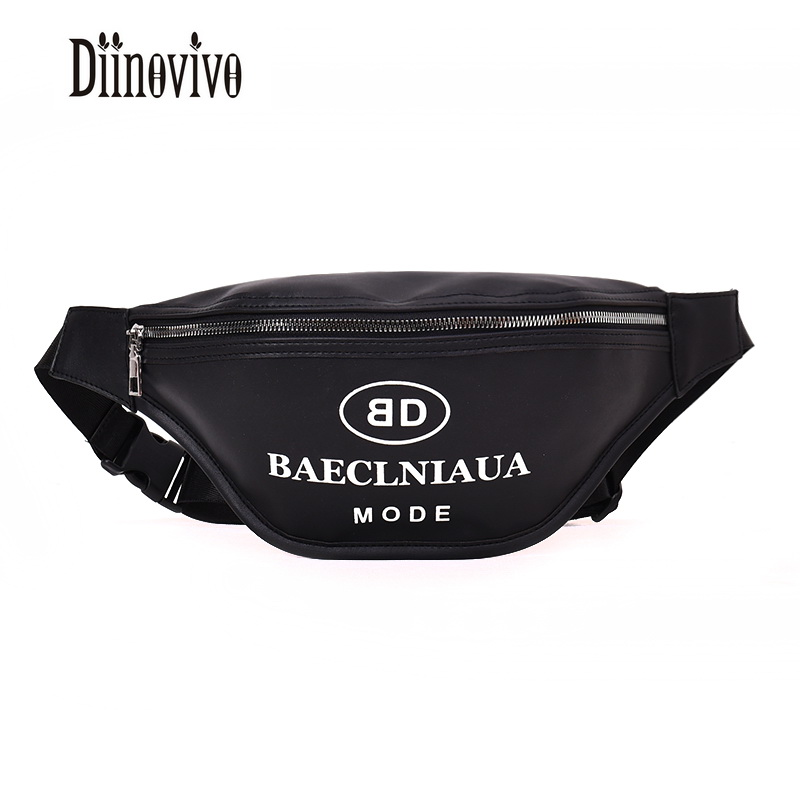 DIINOVIVO 2018 Women Cool Black Waist Bags PU Leather Letter Female Waist Pack Bags Luxury Brand Fashion Lady Chest Belt DNV0517